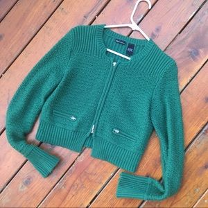 Cropped Green Exposed Zipper Sweater